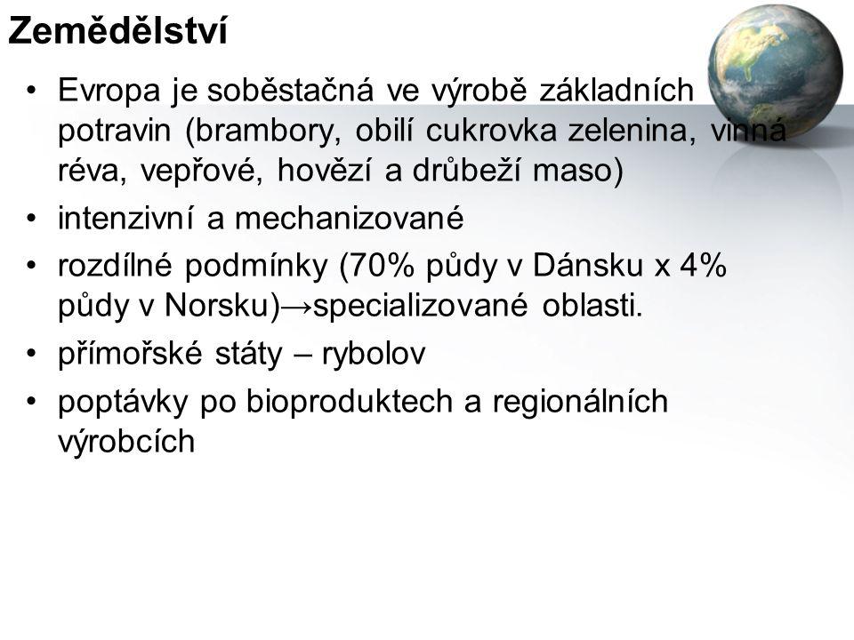Zemědělství Evropa je soběstačná ve výrobě základních potravin (brambory, obilí cukrovka zelenina, vinná réva, vepřové, hovězí a drůbeží maso) intenzivní a mechanizované rozdílné podmínky (70% půdy v Dánsku x 4% půdy v Norsku)→specializované oblasti.