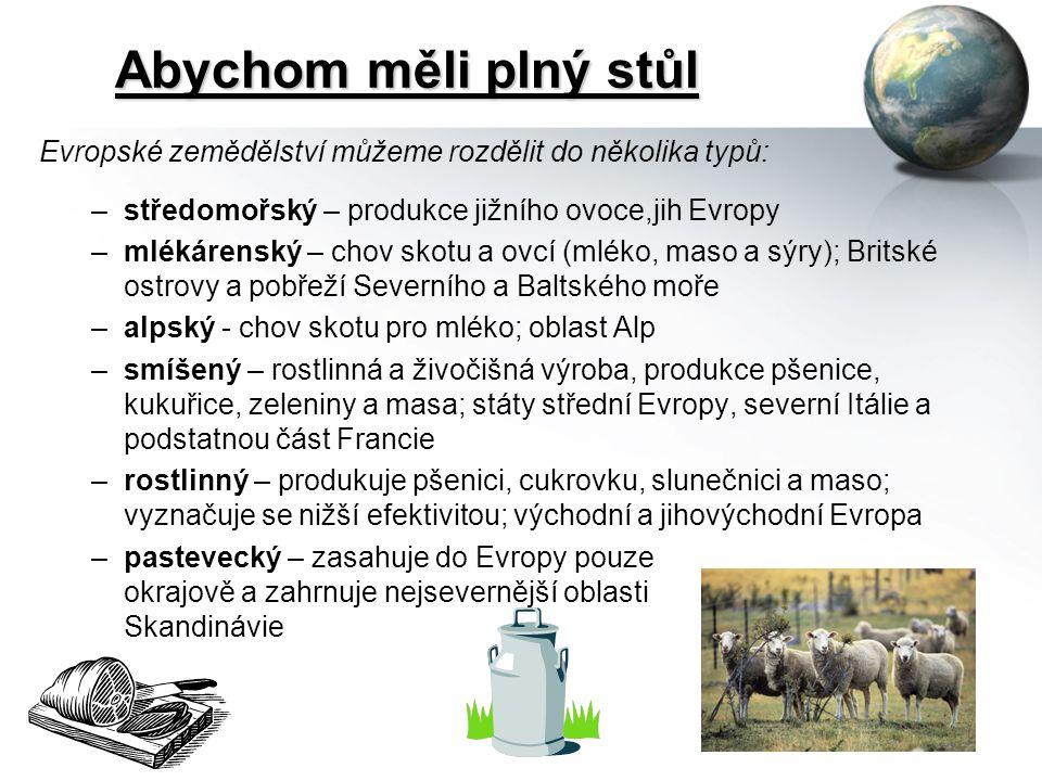 Abychom měli plný stůl Evropské zemědělství můžeme rozdělit do několika typů: –středomořský – produkce jižního ovoce,jih Evropy –mlékárenský – chov skotu a ovcí (mléko, maso a sýry); Britské ostrovy a pobřeží Severního a Baltského moře –alpský - chov skotu pro mléko; oblast Alp –smíšený – rostlinná a živočišná výroba, produkce pšenice, kukuřice, zeleniny a masa; státy střední Evropy, severní Itálie a podstatnou část Francie –rostlinný – produkuje pšenici, cukrovku, slunečnici a maso; vyznačuje se nižší efektivitou; východní a jihovýchodní Evropa –pastevecký – zasahuje do Evropy pouze okrajově a zahrnuje nejsevernější oblasti Skandinávie