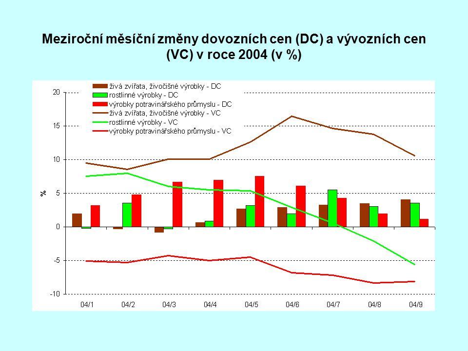 Meziroční měsíční změny dovozních cen (DC) a vývozních cen (VC) v roce 2004 (v %)