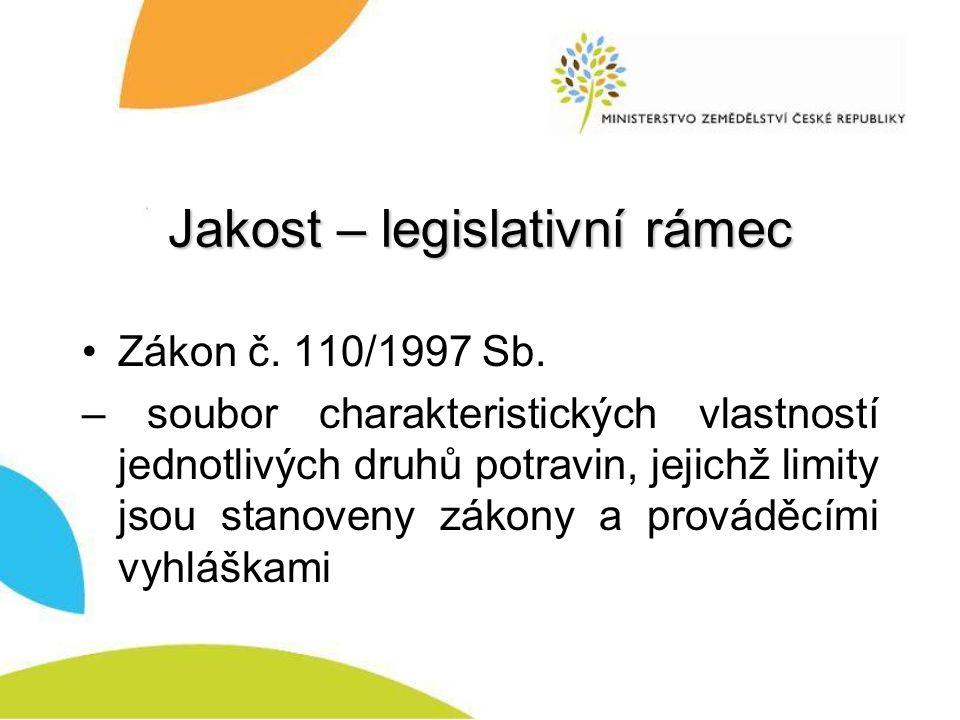 Jakost – legislativní rámec Zákon č.110/1997 Sb.