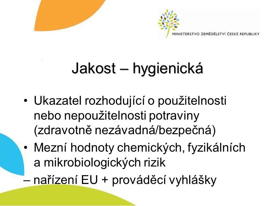 Jakost – hygienická Ukazatel rozhodující o použitelnosti nebo nepoužitelnosti potraviny (zdravotně nezávadná/bezpečná) Mezní hodnoty chemických, fyzikálních a mikrobiologických rizik – nařízení EU + prováděcí vyhlášky