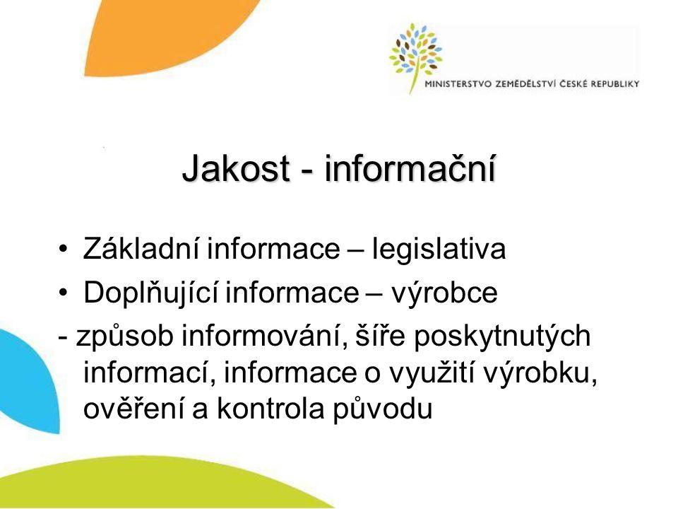 Jakost - informační Základní informace – legislativa Doplňující informace – výrobce - způsob informování, šíře poskytnutých informací, informace o využití výrobku, ověření a kontrola původu
