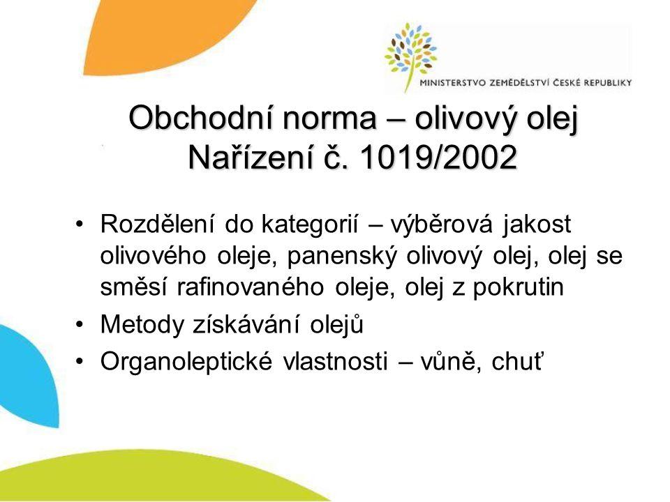 Obchodní norma – olivový olej Nařízení č.
