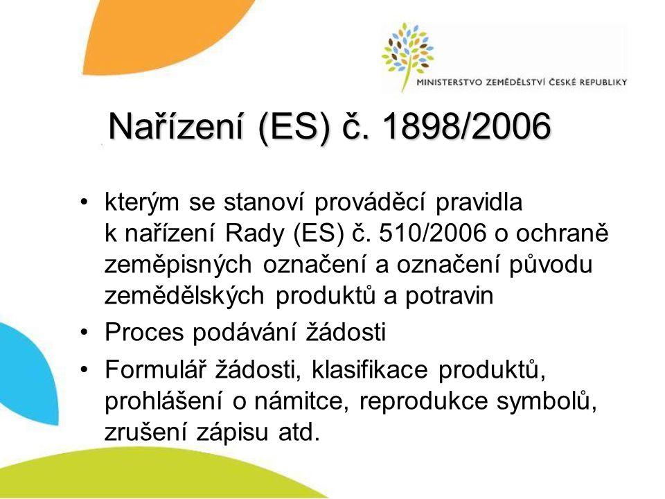 Nařízení (ES) č.1898/2006 kterým se stanoví prováděcí pravidla k nařízení Rady (ES) č.