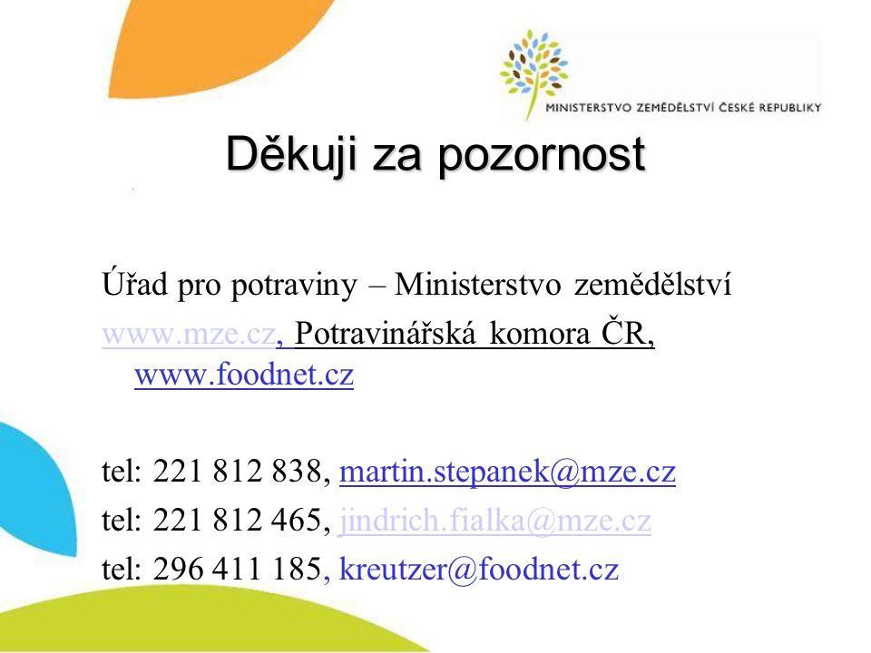 Děkuji za pozornost Úřad pro potraviny – Ministerstvo zemědělství www.mze.czwww.mze.cz, Potravinářská komora ČR, www.foodnet.cz tel: 221 812 838, martin.stepanek@mze.cz tel: 221 812 465, jindrich.fialka@mze.czjindrich.fialka@mze.cz tel: 296 411 185, kreutzer@foodnet.cz
