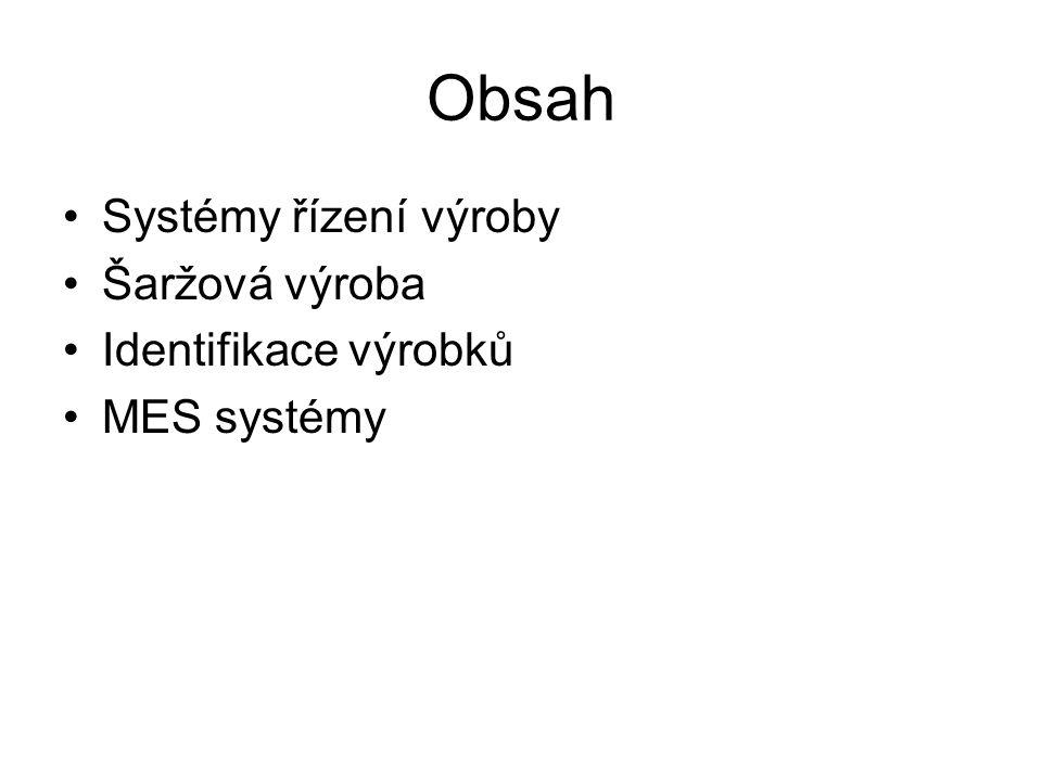 Obsah Systémy řízení výroby Šaržová výroba Identifikace výrobků MES systémy