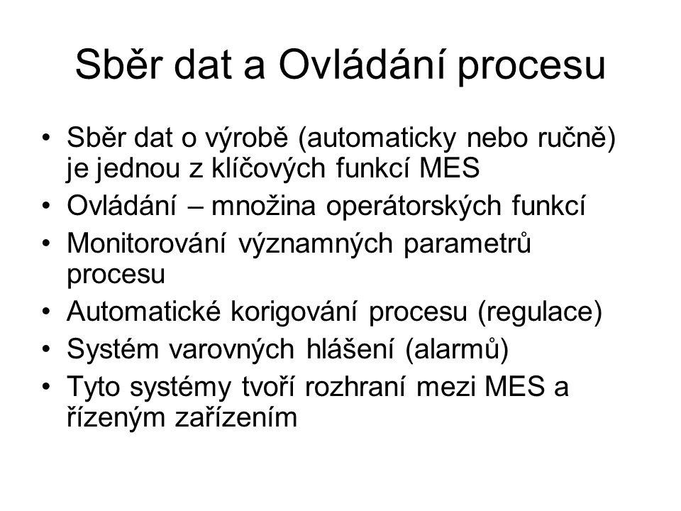 Sběr dat a Ovládání procesu Sběr dat o výrobě (automaticky nebo ručně) je jednou z klíčových funkcí MES Ovládání – množina operátorských funkcí Monitorování významných parametrů procesu Automatické korigování procesu (regulace) Systém varovných hlášení (alarmů) Tyto systémy tvoří rozhraní mezi MES a řízeným zařízením