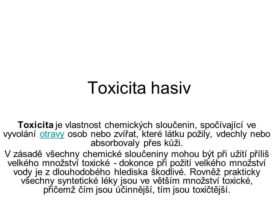 Toxicita hasiv Toxicita je vlastnost chemických sloučenin, spočívající ve vyvolání otravy osob nebo zvířat, které látku požily, vdechly nebo absorbovaly přes kůži.otravy V zásadě všechny chemické sloučeniny mohou být při užití příliš velkého množství toxické - dokonce při požití velkého množství vody je z dlouhodobého hlediska škodlivé.