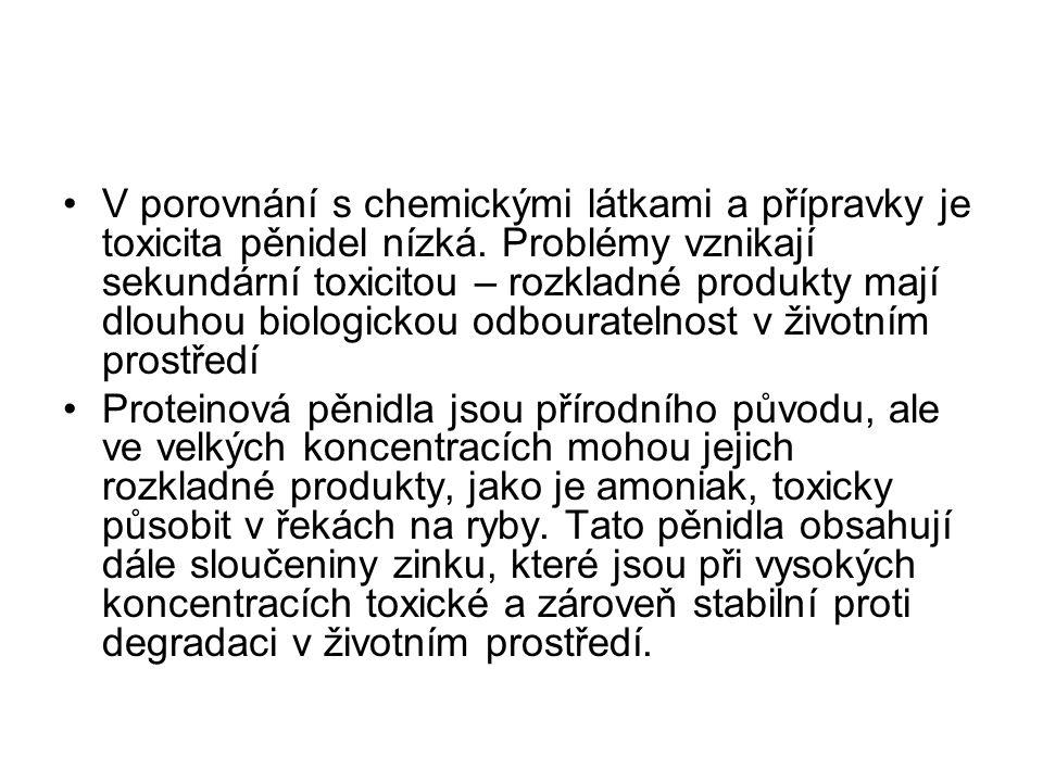 V porovnání s chemickými látkami a přípravky je toxicita pěnidel nízká.