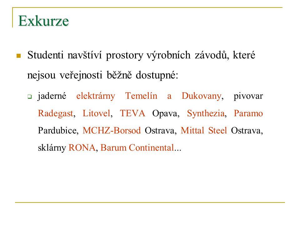 Exkurze Studenti navštíví prostory výrobních závodů, které nejsou veřejnosti běžně dostupné:  jaderné elektrárny Temelín a Dukovany, pivovar Radegast