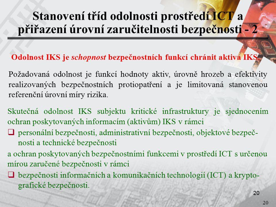 20 Stanovení tříd odolnosti prostředí ICT a přiřazení úrovní zaručitelnosti bezpečnosti - 2 Odolnost IKS je schopnost bezpečnostních funkcí chránit aktiva IKS.