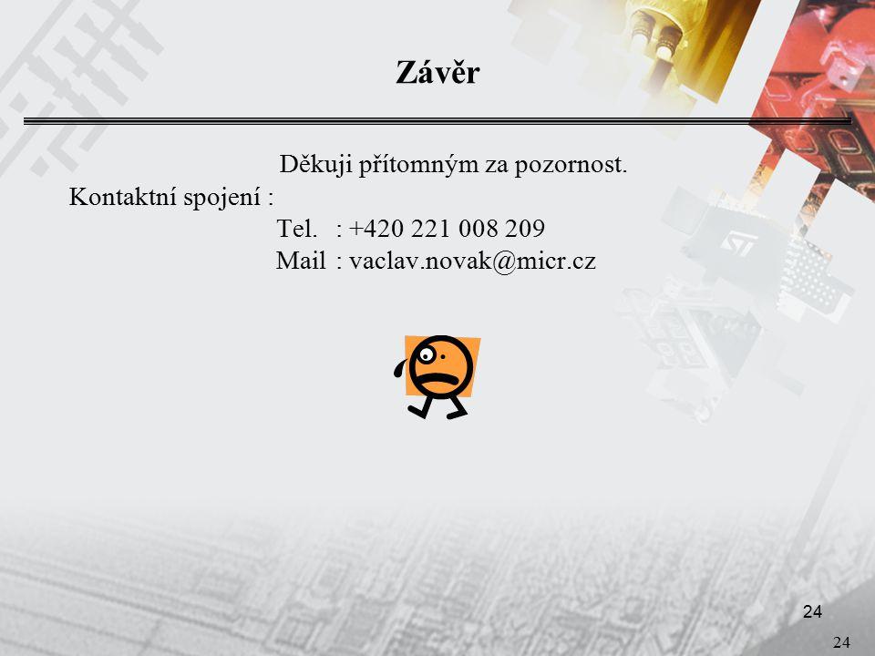24 Závěr Děkuji přítomným za pozornost. Kontaktní spojení : Tel.