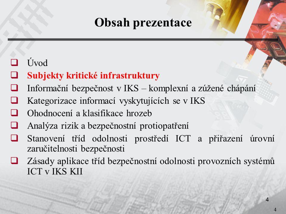 4 4 Obsah prezentace  Úvod  Subjekty kritické infrastruktury  Informační bezpečnost v IKS – komplexní a zúžené chápání  Kategorizace informací vyskytujících se v IKS  Ohodnocení a klasifikace hrozeb  Analýza rizik a bezpečnostní protiopatření  Stanovení tříd odolnosti prostředí ICT a přiřazení úrovní zaručitelnosti bezpečnosti  Zásady aplikace tříd bezpečnostní odolnosti provozních systémů ICT v IKS KII