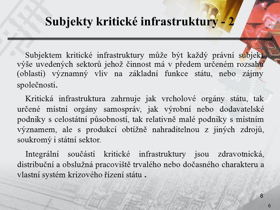 17 Analýza rizik a bezpečnostní protiopatření - 2 Na identifikovaných strukturách (subsystémech) se pak v rámci procesu výstavby, případně inovace systému informační bezpečnosti aplikují standardní bezpečnostní opatření v oblastech  personální bezpečnosti  administrativní bezpečnosti  objektové bezpečnosti a  technické bezpečnosti.