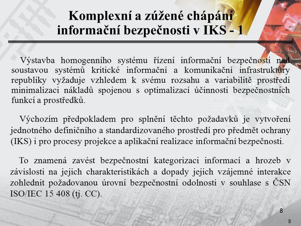 9 9 Komplexní a zúžené chápání informační bezpečnosti v IKS - 2 Jakýkoli systém ve kterém jsou zpracovávány a distribuovány informace.