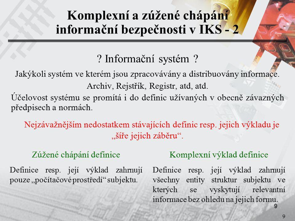 10 Obsah prezentace  Úvod  Subjekty kritické infrastruktury  Informační bezpečnost v IKS – komplexní a zúžené chápání  Kategorizace informací vyskytujících se v IKS  Ohodnocení a klasifikace hrozeb  Analýza rizik a bezpečnostní protiopatření  Stanovení tříd odolnosti prostředí ICT a přiřazení úrovní zaručitelnosti bezpečnosti  Zásady aplikace tříd bezpečnostní odolnosti provozních systémů ICT v IKS KII