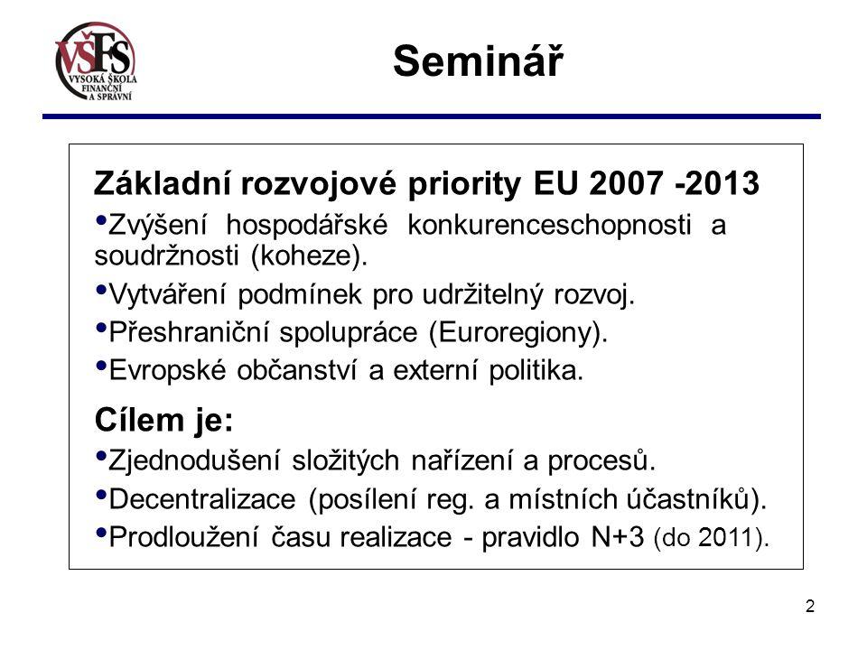 2 Seminář Základní rozvojové priority EU 2007 -2013 Zvýšení hospodářské konkurenceschopnosti a soudržnosti (koheze).