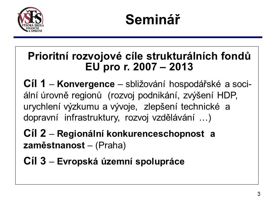 3 Seminář Prioritní rozvojové cíle strukturálních fondů EU pro r.