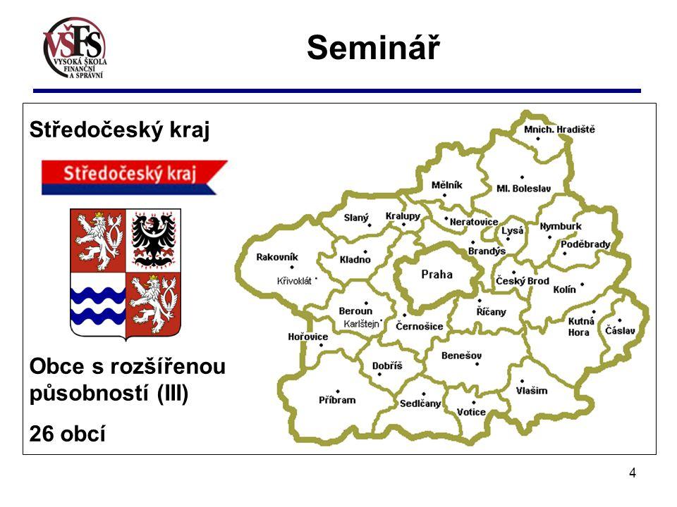 4 Seminář Středočeský kraj Obce s rozšířenou působností (III) 26 obcí