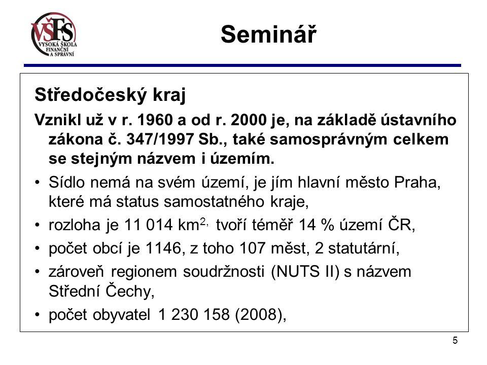 5 Seminář Středočeský kraj Vznikl už v r. 1960 a od r.