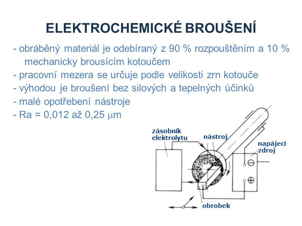 ELEKTROCHEMICKÉ BROUŠENÍ - obráběný materiál je odebíraný z 90 % rozpouštěním a 10 % mechanicky brousícím kotoučem - pracovní mezera se určuje podle v