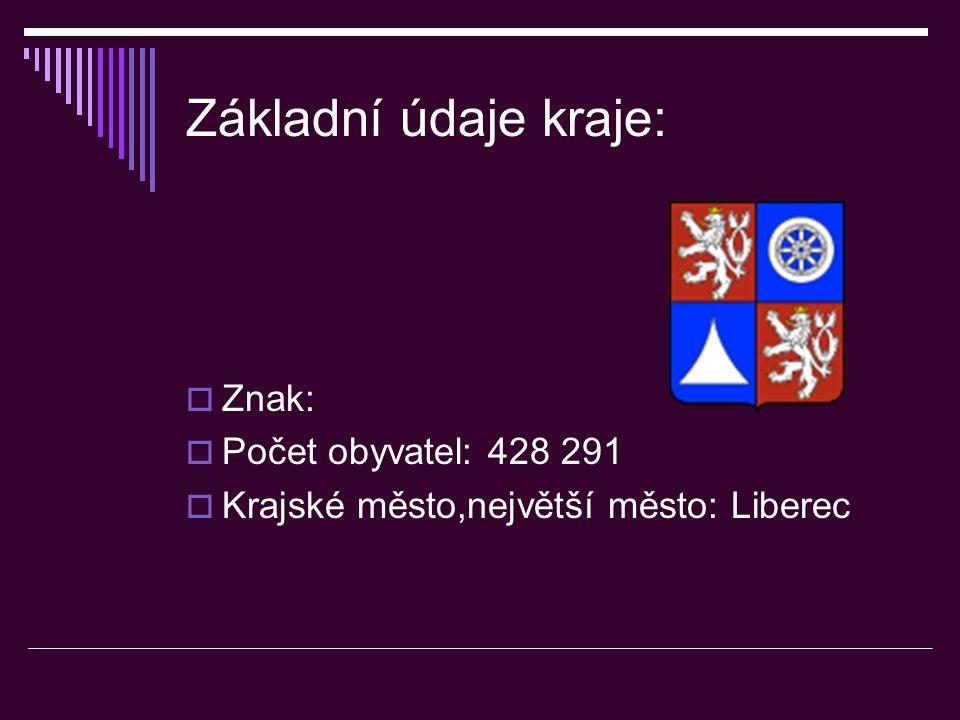 Základní údaje kraje:  Znak:  Počet obyvatel: 428 291  Krajské město,největší město: Liberec
