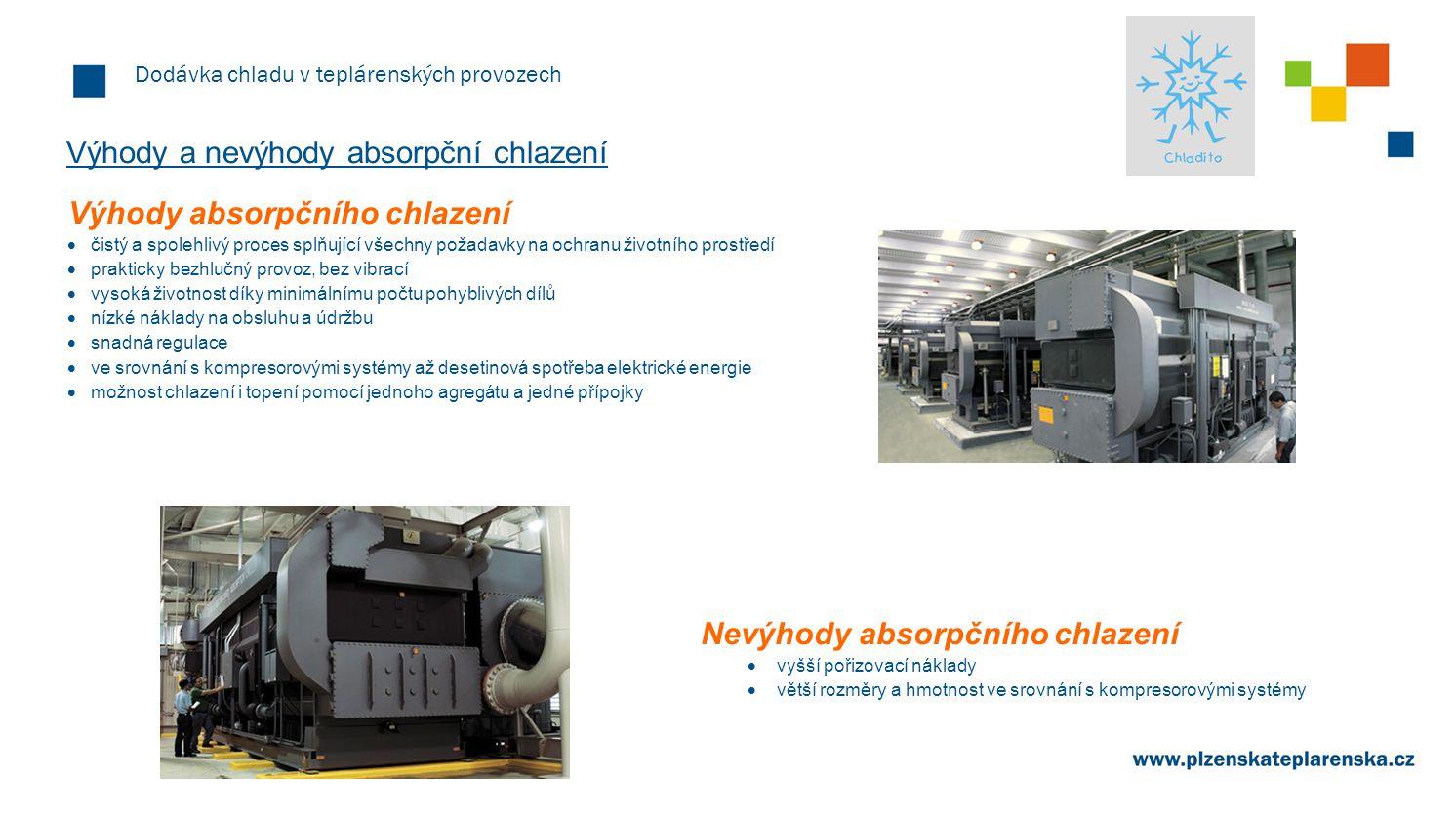Dodávka chladu v teplárenských provozech Uplatnění absorpční chlazení Absorpční chlazení je možno využít pro klimatizaci objektů i pro průmyslové chlazení.