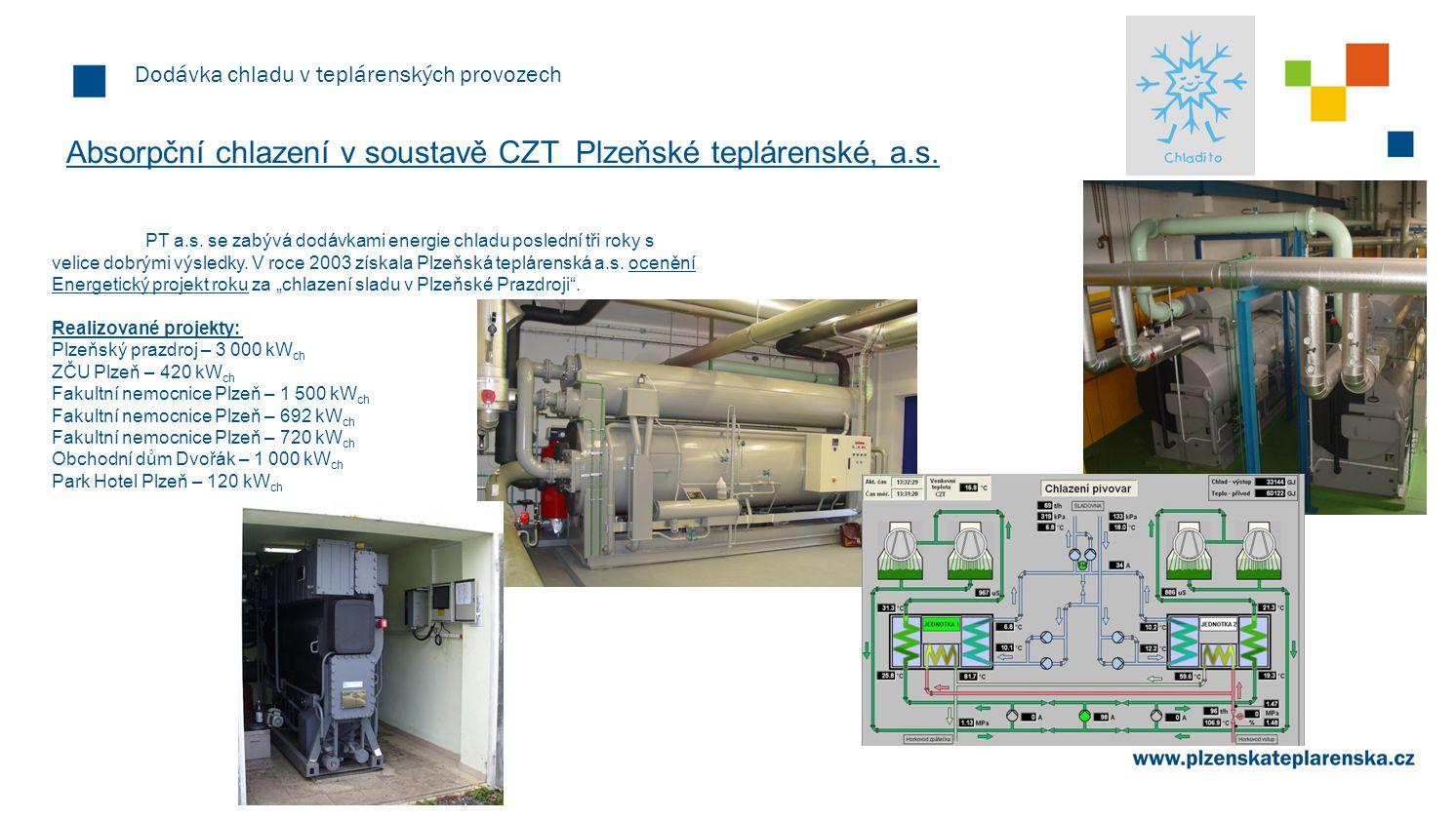 Dodávka chladu v teplárenských provozech Absorpční chlazení v soustavě CZT Plzeňské teplárenské, a.s. PT a.s. se zabývá dodávkami energie chladu posle