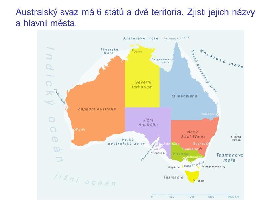 Queensland – Brisbane Nový Jižní Wales – Sydney Viktorie – Melbourne Jižní Austrálie – Adelaide Tasmánie – Hobart Západní Austrálie – Perth Severní teritorium – Darwin Teritorium hlavního města – Canberra Chceš vidět, jak a kdy byly státy a teritoria vyhlašovány.