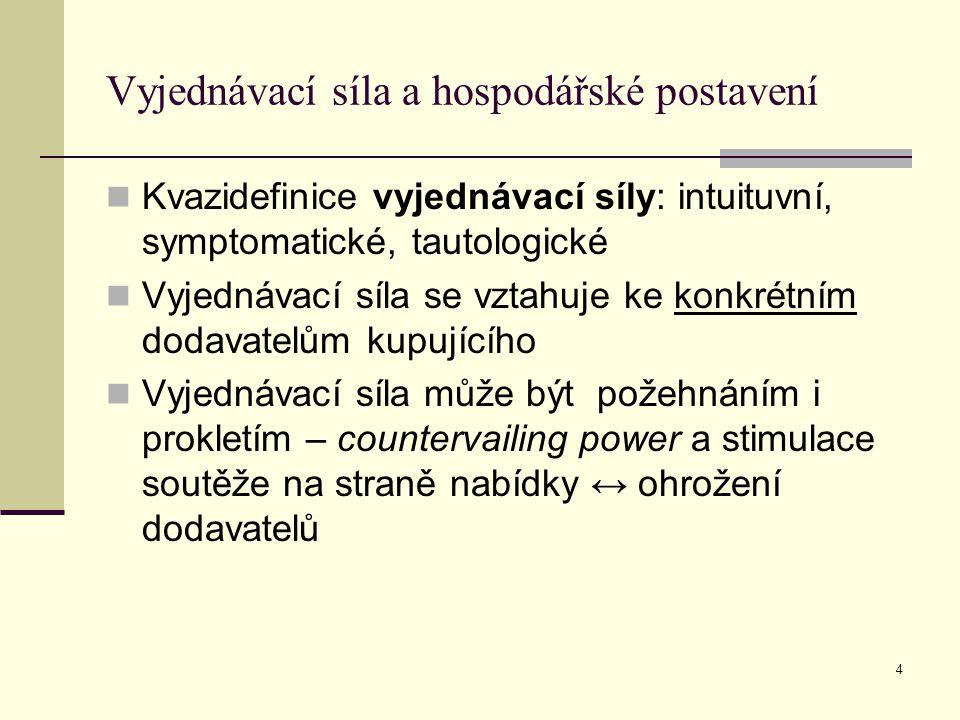 Vyjednávací síla a hospodářské postavení Kvazidefinice vyjednávací síly: intuituvní, symptomatické, tautologické Vyjednávací síla se vztahuje ke konkrétním dodavatelům kupujícího Vyjednávací síla může být požehnáním i prokletím – countervailing power a stimulace soutěže na straně nabídky ↔ ohrožení dodavatelů 4