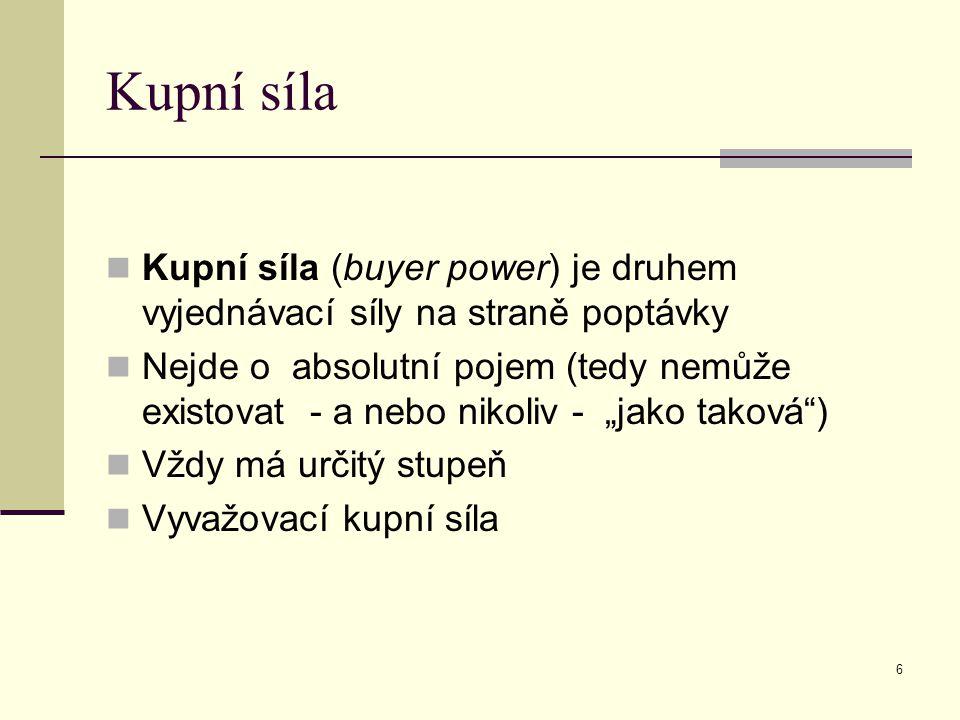 """Kupní síla Kupní síla (buyer power) je druhem vyjednávací síly na straně poptávky Nejde o absolutní pojem (tedy nemůže existovat - a nebo nikoliv - """"jako taková ) Vždy má určitý stupeň Vyvažovací kupní síla 6"""