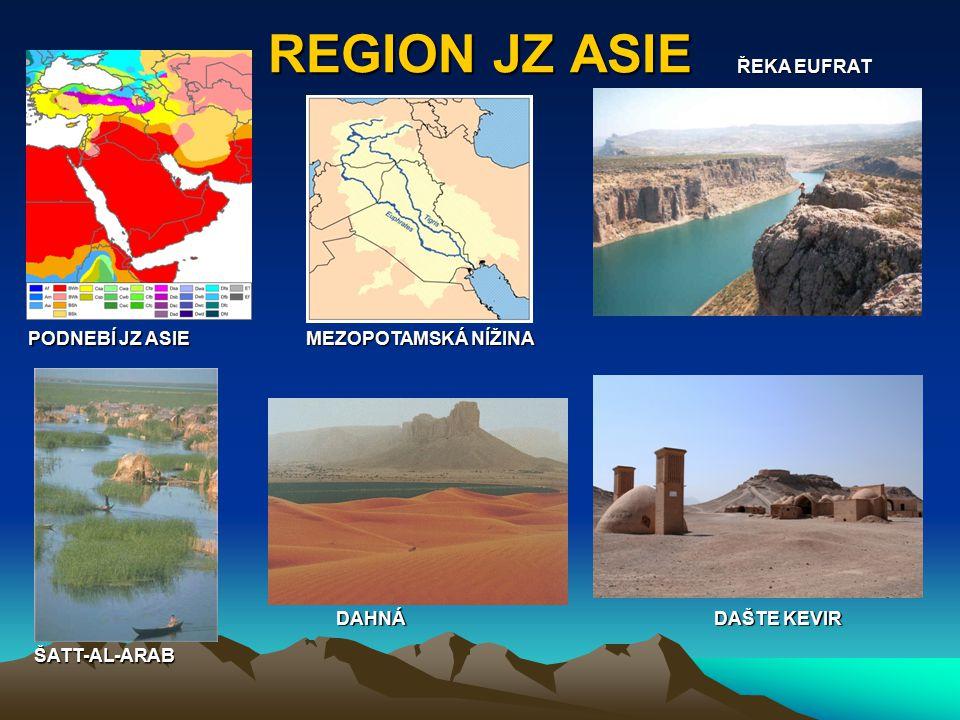 REGION JZ ASIE PODNEBÍ JZ ASIE MEZOPOTAMSKÁ NÍŽINA ŘEKA EUFRAT ŠATT-AL-ARAB DAHNÁ DAŠTE KEVIR