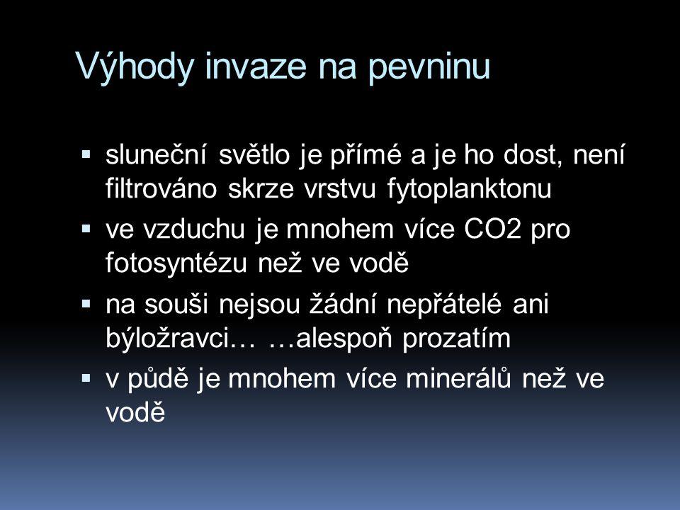 Výhody invaze na pevninu  sluneční světlo je přímé a je ho dost, není filtrováno skrze vrstvu fytoplanktonu  ve vzduchu je mnohem více CO2 pro fotos