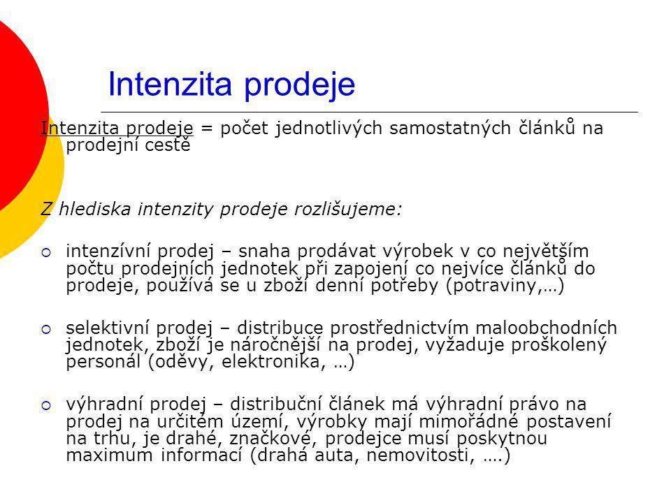 Intenzita prodeje Intenzita prodeje = počet jednotlivých samostatných článků na prodejní cestě Z hlediska intenzity prodeje rozlišujeme:  intenzívní