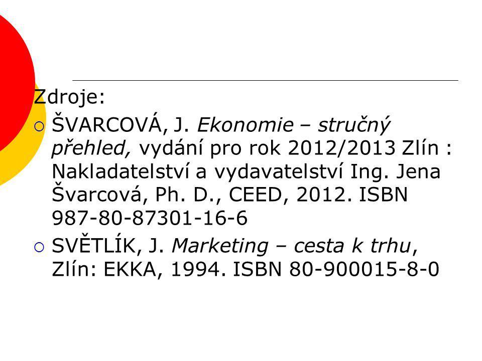 Zdroje:  ŠVARCOVÁ, J. Ekonomie – stručný přehled, vydání pro rok 2012/2013 Zlín : Nakladatelství a vydavatelství Ing. Jena Švarcová, Ph. D., CEED, 20