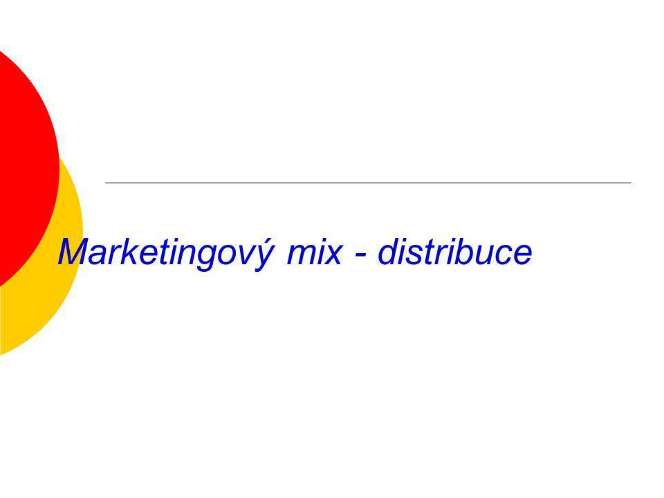 Distribuce Distribuce řeší problém: komu a kde se budou výrobky prodávat jak zajistit, aby byl výrobek nabízen na správném místě ve správném okamžiku