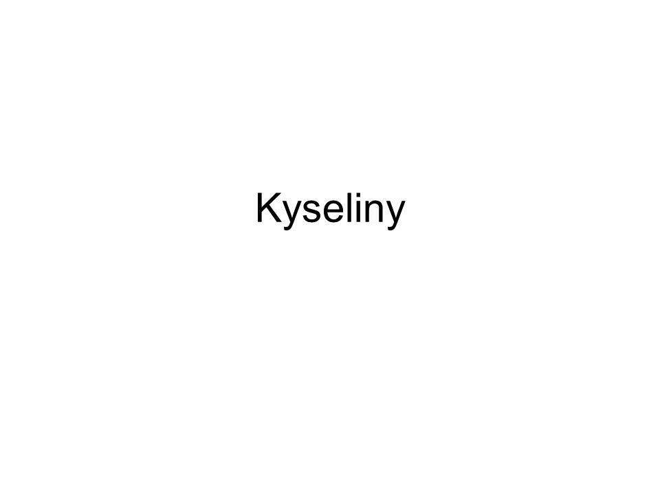 Kyseliny Kyseliny dělíme podle kyselosti na: –silné výrazně zvyšují kyselost roztoku, jsou silně leptavé kyseliny halogenovodíkové, H 2 SO 4, HNO 3,...