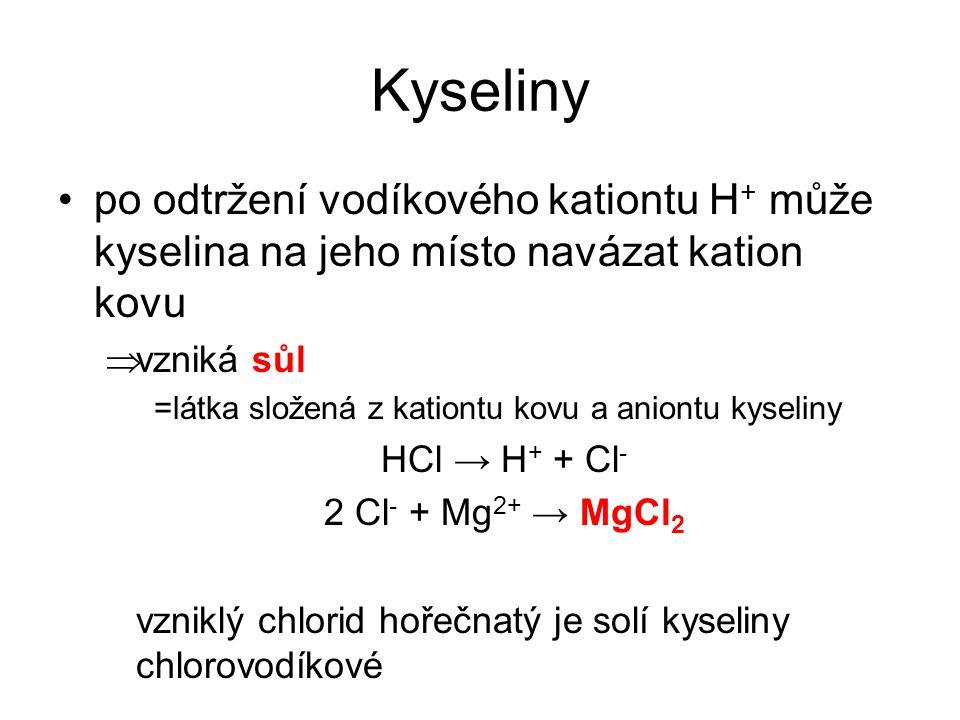 Kyseliny po odtržení vodíkového kationtu H + může kyselina na jeho místo navázat kation kovu  vzniká sůl =látka složená z kationtu kovu a aniontu kys
