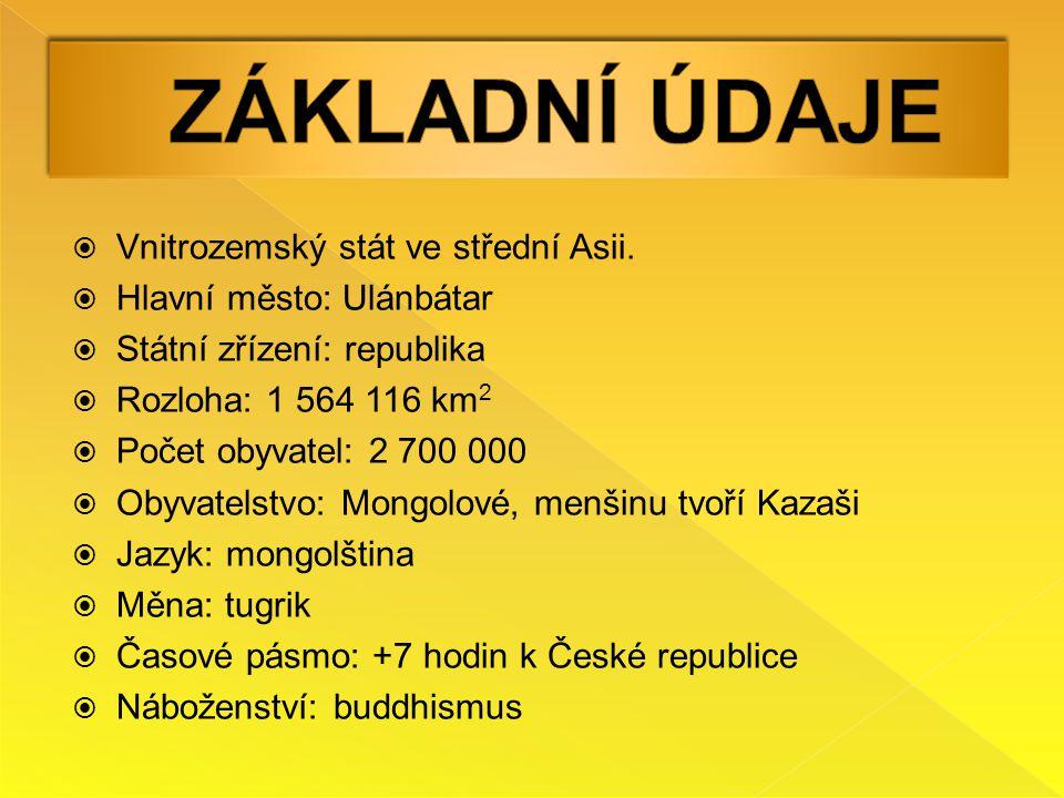  Vnitrozemský stát ve střední Asii.  Hlavní město: Ulánbátar  Státní zřízení: republika  Rozloha: 1 564 116 km 2  Počet obyvatel: 2 700 000  Oby