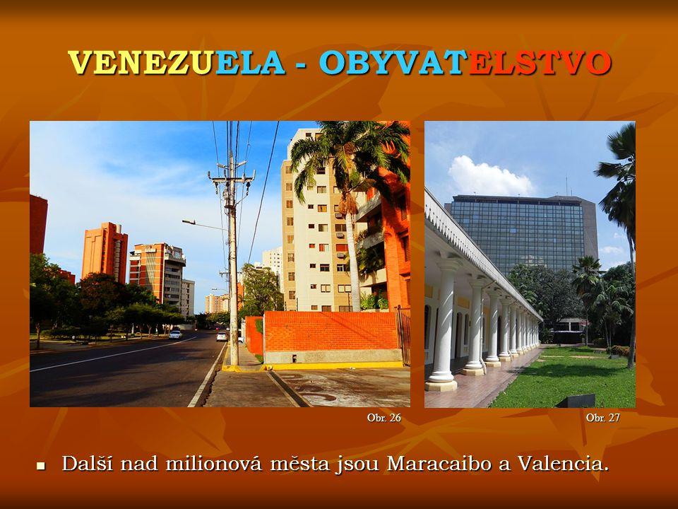 VENEZUELA - OBYVATELSTVO Obr. 27 Obr. 26 Další nad milionová města jsou Maracaibo a Valencia. Další nad milionová města jsou Maracaibo a Valencia.