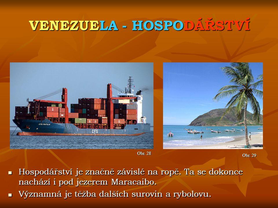 VENEZUELA - HOSPODÁŘSTVÍ Obr. 28 Obr. 29 Hospodářství je značně závislé na ropě. Ta se dokonce nachází i pod jezerem Maracaibo. Hospodářství je značně
