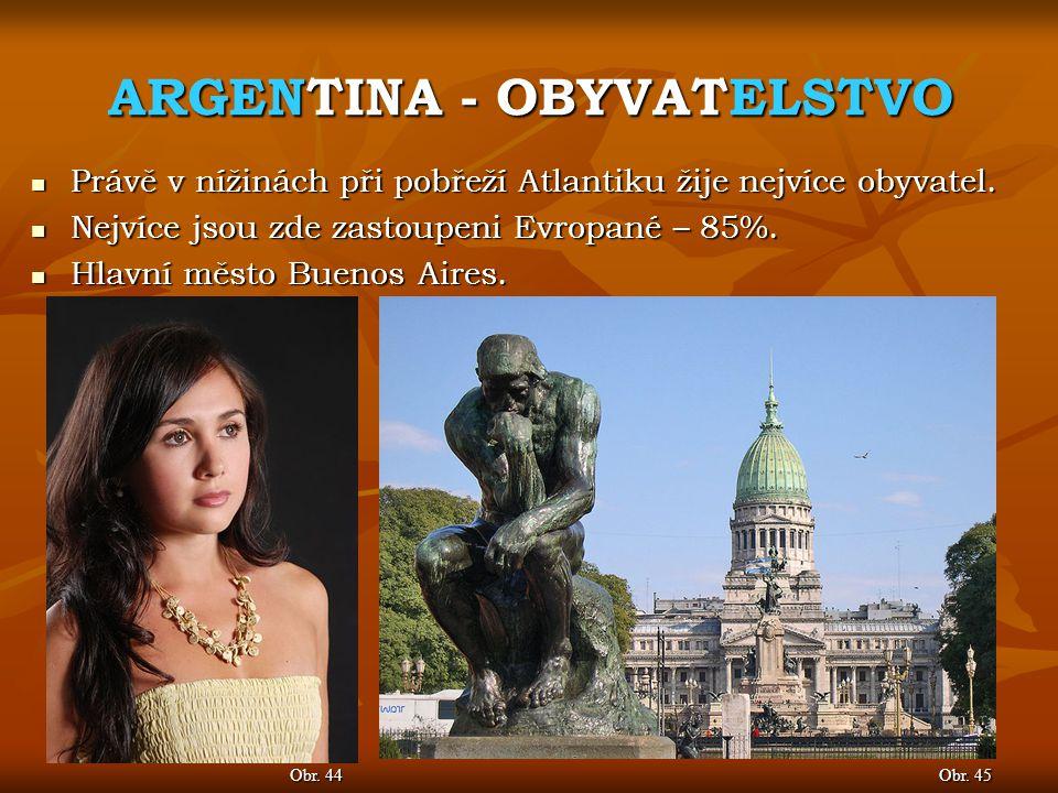 ARGENTINA - OBYVATELSTVO Obr.47 Obr. 46 Mezi největší města patří Córdoba (obr.