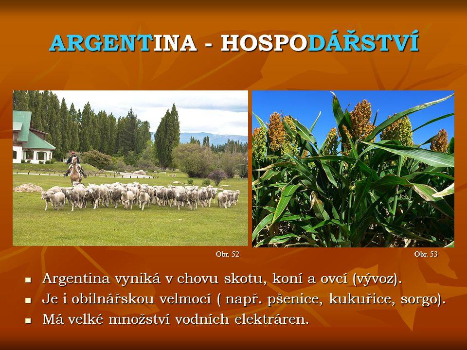 ARGENTINA - HOSPODÁŘSTVÍ Obr. 53 Obr. 52 Argentina vyniká v chovu skotu, koní a ovcí (vývoz). Argentina vyniká v chovu skotu, koní a ovcí (vývoz). Je