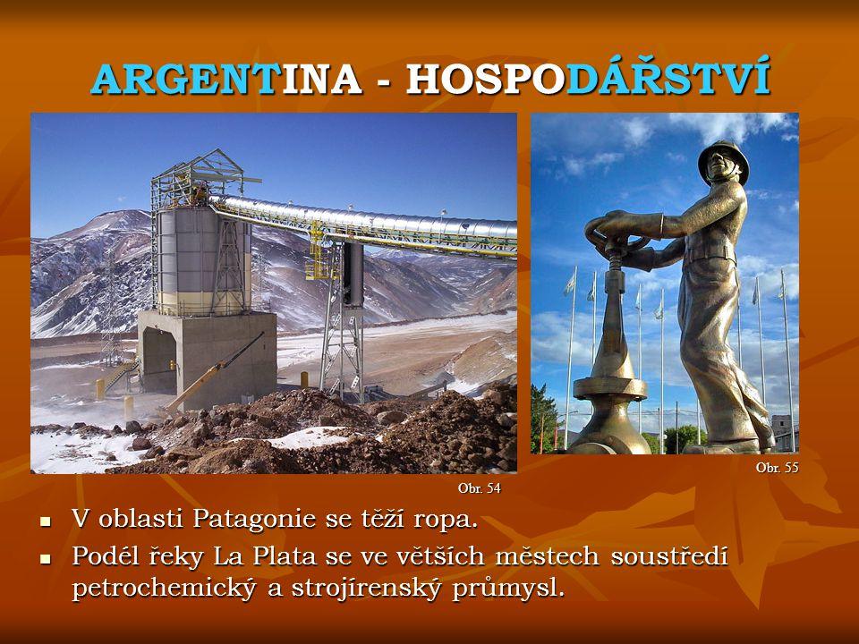 ARGENTINA - HOSPODÁŘSTVÍ Obr. 55 Obr. 54 V oblasti Patagonie se těží ropa. V oblasti Patagonie se těží ropa. Podél řeky La Plata se ve větších městech