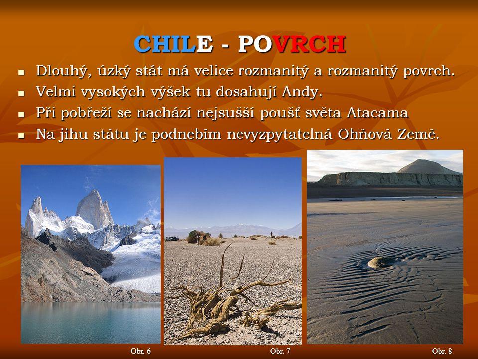 CHILE - POVRCH Obr. 6 Obr. 7 Dlouhý, úzký stát má velice rozmanitý a rozmanitý povrch. Dlouhý, úzký stát má velice rozmanitý a rozmanitý povrch. Velmi