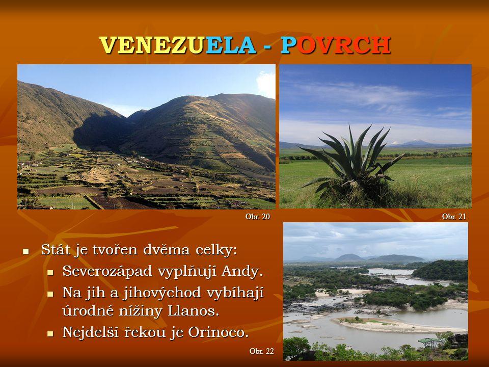 VENEZUELA - POVRCH Obr. 21 Obr. 20 Stát je tvořen dvěma celky: Stát je tvořen dvěma celky: Severozápad vyplňují Andy. Severozápad vyplňují Andy. Na ji