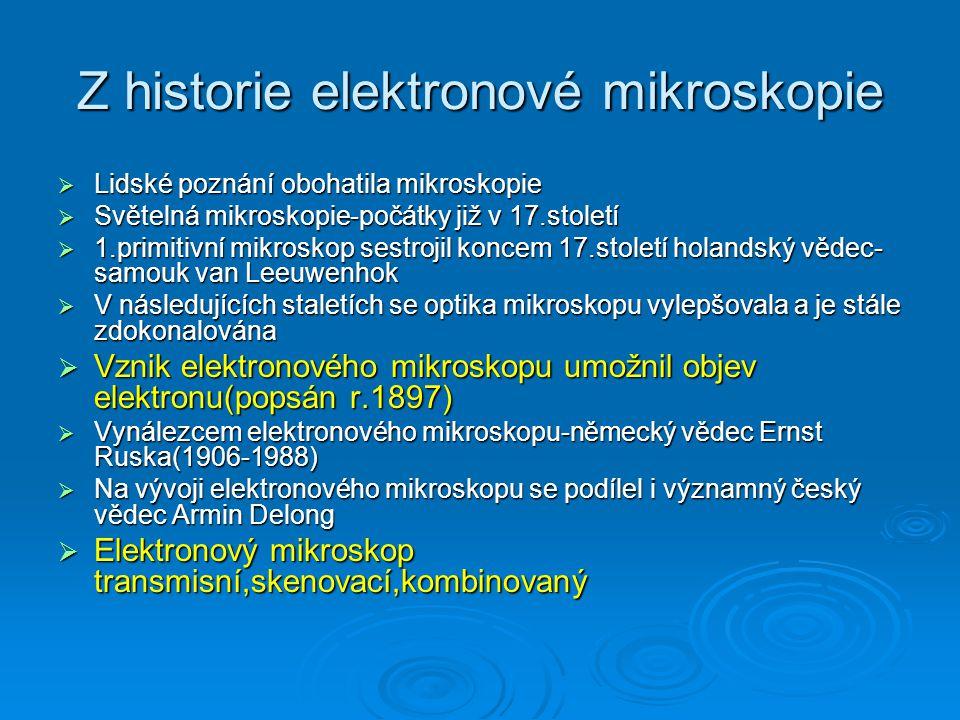 Z historie elektronové mikroskopie  Lidské poznání obohatila mikroskopie  Světelná mikroskopie-počátky již v 17.století  1.primitivní mikroskop ses