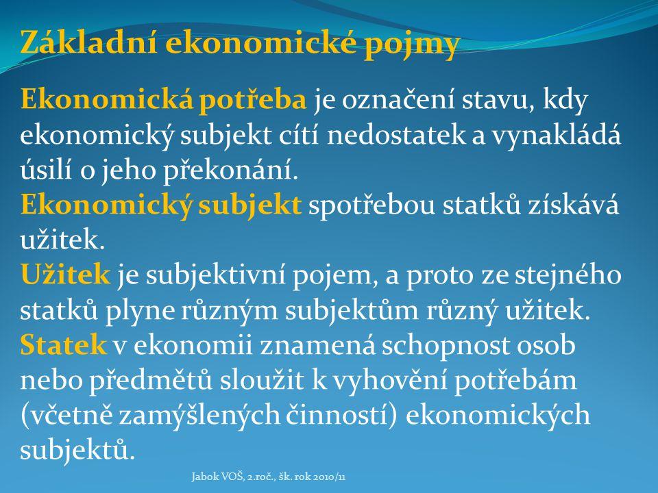 Jabok VOŠ, 2.roč., šk. rok 2010/11 Základní ekonomické pojmy Ekonomická potřeba je označení stavu, kdy ekonomický subjekt cítí nedostatek a vynakládá
