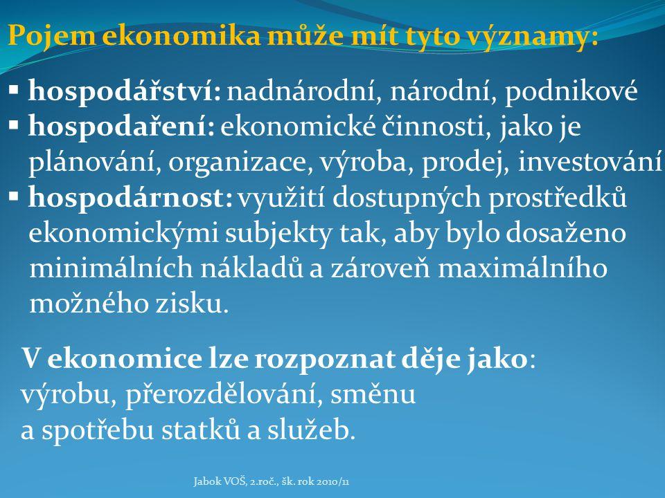 Jabok VOŠ, 2.roč., šk. rok 2010/11 Pojem ekonomika může mít tyto významy:  hospodářství: nadnárodní, národní, podnikové  hospodaření: ekonomické čin