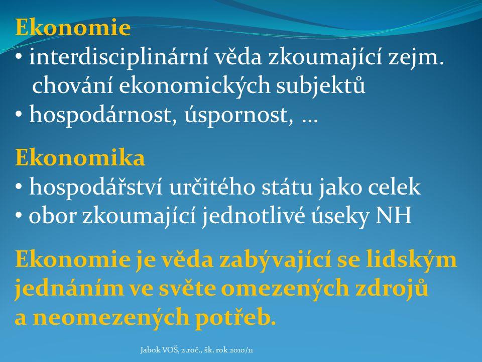 Jabok VOŠ, 2.roč., šk. rok 2010/11 Ekonomie interdisciplinární věda zkoumající zejm. chování ekonomických subjektů hospodárnost, úspornost, … Ekonomik